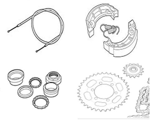 Zündapp – Räder, Kabels, Bremsteilen, Gabelteile, Hebel, Ketten, Kettenräder
