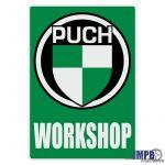 Workshop Aufkleber Puch English