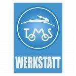 Werkstatt Aufkleber Tomos Blau Deutsch